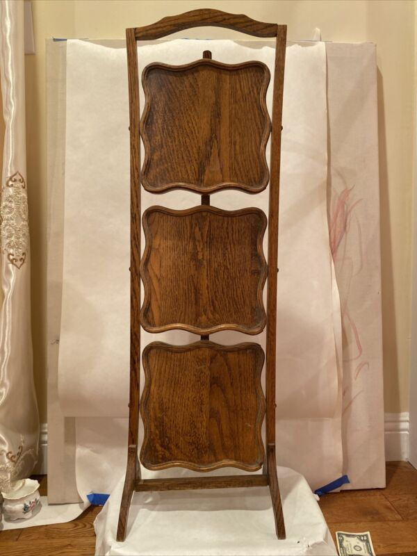 Vintage Foldable Oak Wood Shelf. 3 Tier