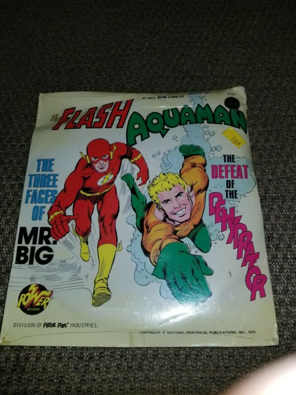 Peter Pan 45 The Flash Aquaman Records Sealed NOS Comic Characters Vintage 1975