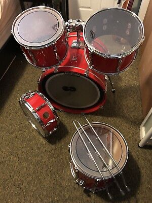 Premier Red Vintage Drum Kit 4 Piece With Extra 13X9 Tom