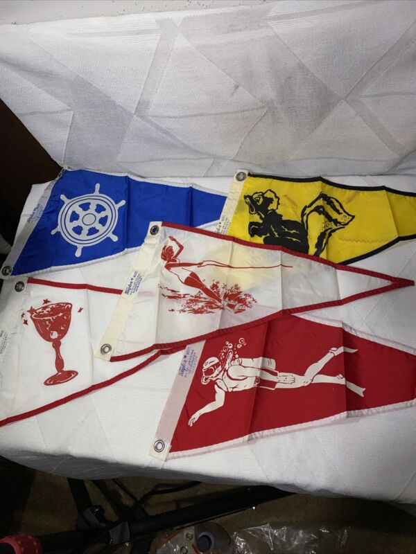 Rare Lot Of 5 VINTAGE TAYLOR MADE PENNANT BOAT FLAGS BRAND NEW 💯 ORIGINAL
