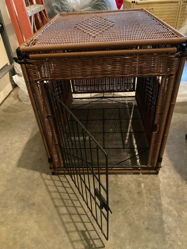 Used Decorative Brown Wicker Dog Crate