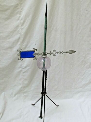 Antique Copper Lightning Rod with Glass Ball & Weather Vane Directional  Arrow