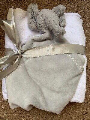 Pottery Barn Baby 100% Organic Cotton Receiving Blankets & Elephant Lovey Set