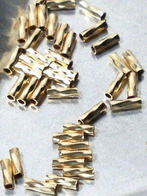 10pcs - 14k GOLD FILLED 1x4mm LIQUID GOLD TWIST TUBE (Gold Filled Tube Beads)