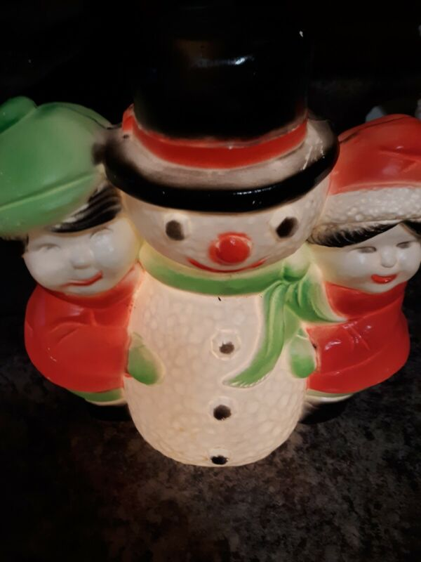 Vintage Blow Mold Light Up Snowman With Children Union Products
