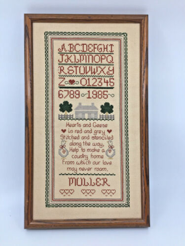 Framed Cross Stitch Country Home Sampler ABC