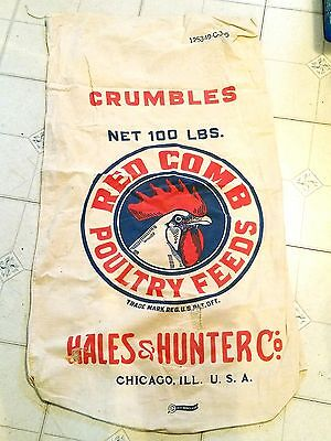 Vintage 1950's Red Comb Poultry Feeds Sack
