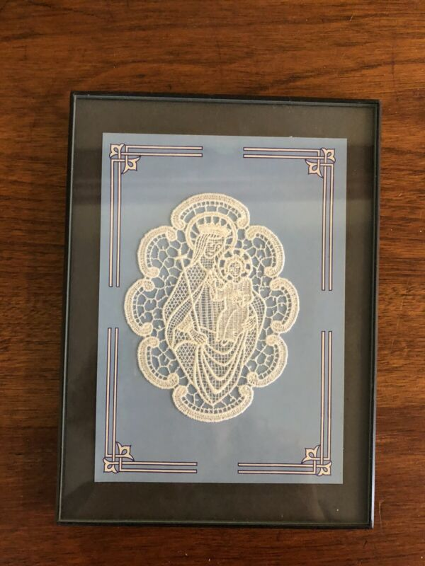 "Framed Belgium LACE MADONNA and CHILD  4"" x 3"" Lace - 5"" x 7"" Frame- Delicate!"