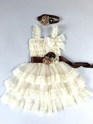 Flower Girl Dress girl Lace dress Baby Lace Dress-Rustic-Country Ivory - Girls Country Dress