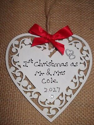 PERSONALISED FIRST CHRISTMAS AS MR & MRS TREE DECORATION HUSBAND AND WIFE