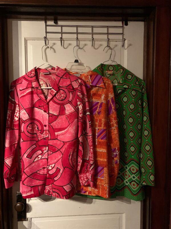 Vintage Psychedelic Three Pykettes 60s 70s Blouse Pink, Orange & Green Medium