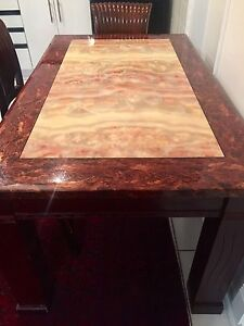 Heavy stone dinning table with 6 free chairs