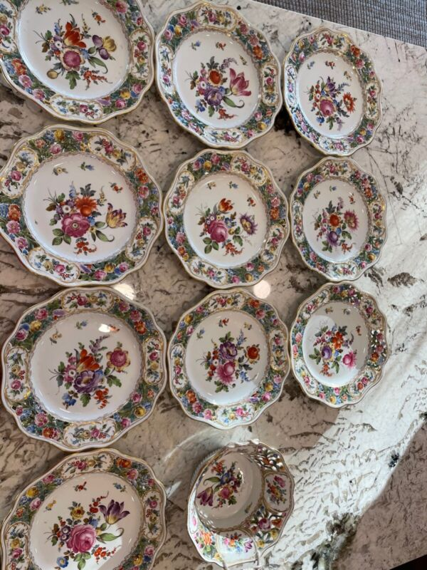 10 Dresden Germany Hand Painted Porcelain Reticulated Plates and 1 serving bowl