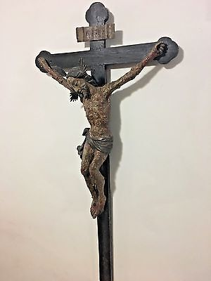 (AMAZING LATE RENAISSANCE CARVED WOOD PLAGUE CROSS FROM TYROL CA. 1670)