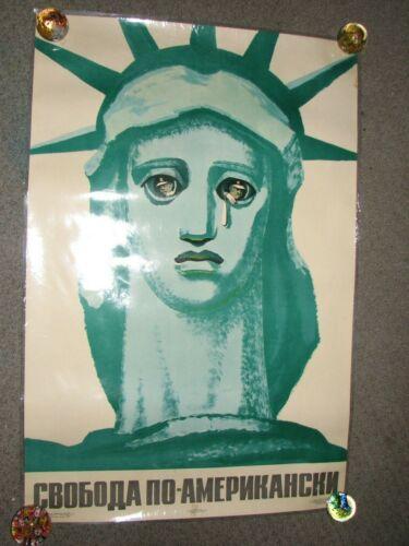 1971 Soviet Russian Propoganda Poster Statue of Liberty American Style Prorokov
