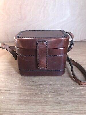 Vintage Leather Box Bag/Old Camera Bag, Shoulder Strap, Brown Colour