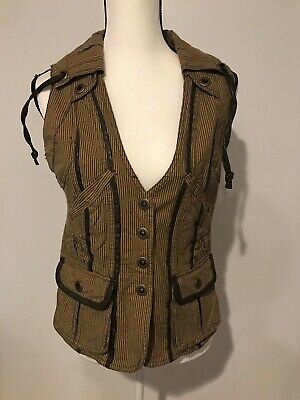 BKE Womens Brown Striped Vest Size Medium (Brown Striped Vest)