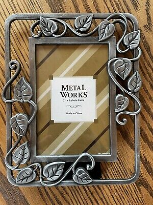 3 1/2 X 5 Pewter Photo Stand Up Picture Frame Metal Works Leaf And Vine Design