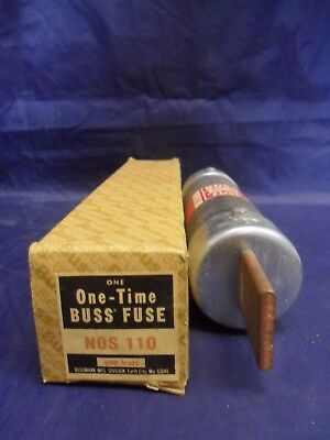 Amp One Time Fuse - New Bussmann NOS-110 110 Amp One-Time Fuse 600 Volts NIB