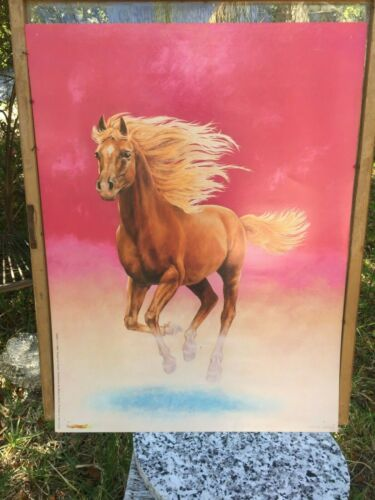 Vintage 1998 Wayne Hovis Print Running Chestnut Blond Mane Horse Pink Background