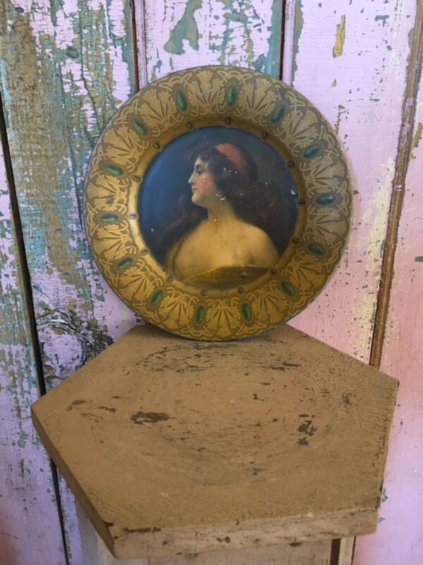 Lovely Antique Victorian Tin Plate Beautiful Gypsy Lady portrait Chippy #11