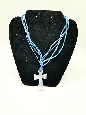 NEW With Tag  Shell Cross Blue Beaded Christian Necklace Beaded Shell Cross