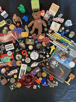 Vintage Junk Drawer Treasure Chest, Advertising, Dice, Marbles, Pins, Toys, Etc.