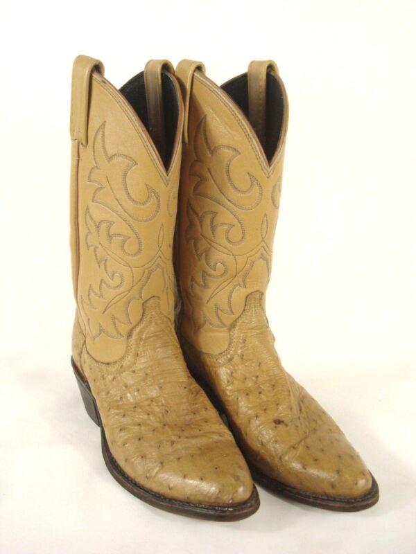 Dan, Post, Ostrich, Leather, Full, Quill, Cowboy, Boots, Western, Tan/Camel, Mens, Sz, 6M