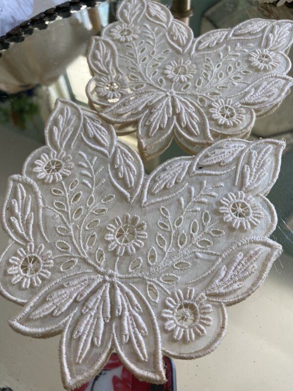 Antique French Tambour Lace Embellishments Applique PR Cream Fine Cotton Ornate