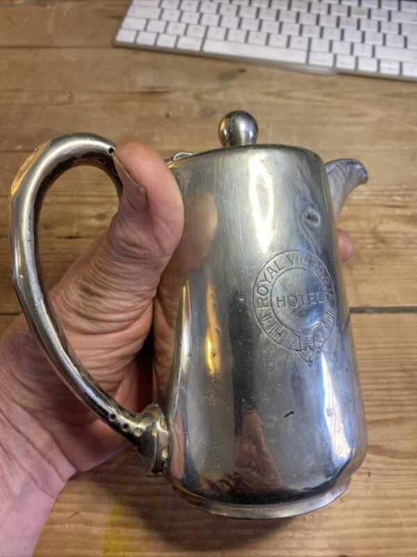 Silver Plate Royal Victoria Railway Hotel Coffee Hot Water Jug Butler