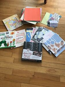 Scrapbooking paper, stickers, stamps, accessories