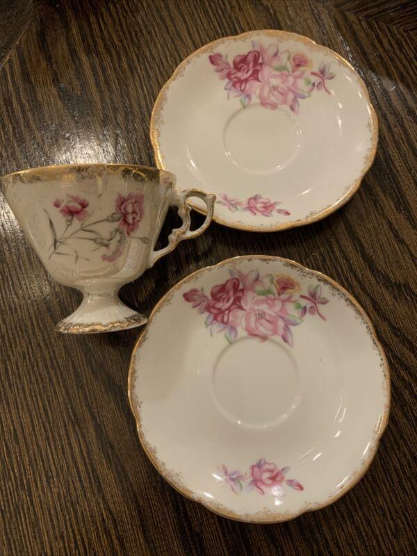 2 Vintage Pink Floral W/ Gold Edging saucers And Luster Teacup