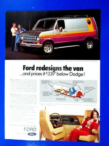 1975 Ford Custom Van Original Print Ad 8.5 x 11