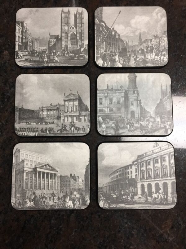 Set 6 Melamine Coasters of England Historical Sites Sewell made in England