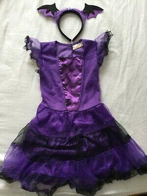 Mädchen Festkleid Kostüm Fledermaus Fasching Karneval Gr. 116 Lilaschwarz ()