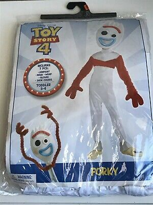 NEW Disney-Pixar Toy Story 4 Forky Toddler 3-4 Size Halloween Costume 7 Piece