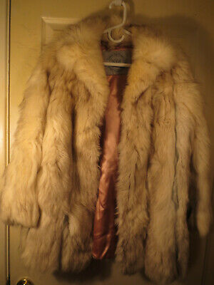 HUDSON BAY of CANADA  PRISTINE silver white blue FOX FUR COAT JACKET see measure Blue Fox Fur Coat Jacket