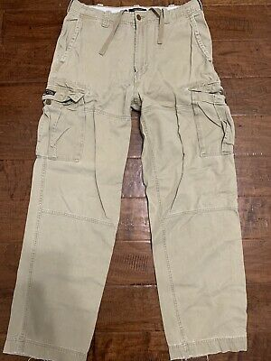Abercrombie & Fitch Khaki Cargo Fatigues Pants Military Loose MENS sz 32L