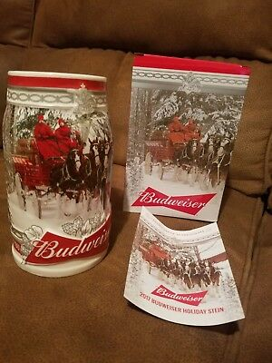 2017  Anheuser Busch AB Budweiser  Holiday Christmas Beer Stein Clydesdales  NEW