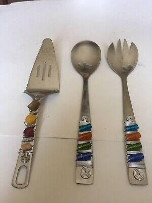 Se Of 3 Serving Pieces Salad And Cake Serving Pieces. Beaded Handles (Beaded Serving Pieces Salad Servers)
