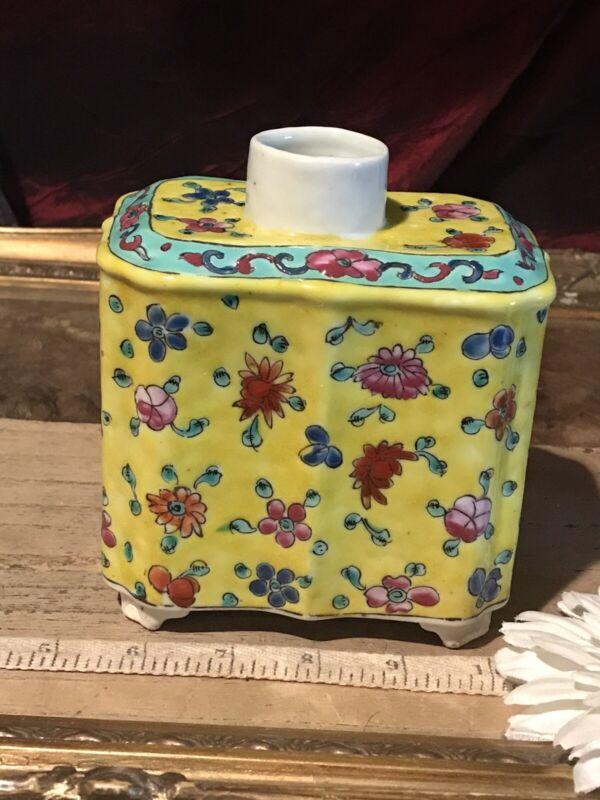 Antique Vintage Asian Porcelain Tea Caddy/Vase Famille Rose Jaune NO LID