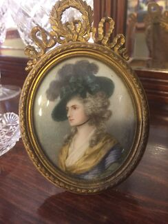 Antique frame with hand painted Victorian lady