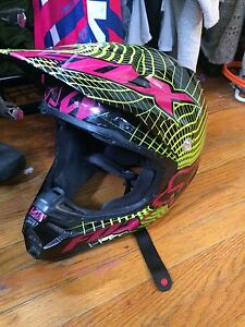 Women's dirtbike helmet and riding boots
