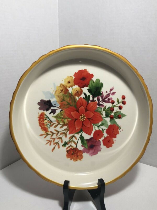 """The Pioneer Woman Winter Bouquet 10"""" Red Baking Dish Pie Pan Christmas Gold Rim"""