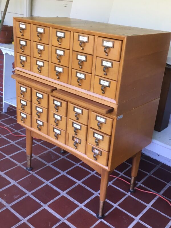 MCM WOODEN CARD CATALOG LIBRARY FILE 30 DRAWER 4pc SECTIONAL w/ STAND + SHELVES