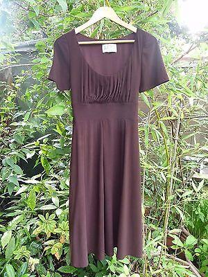 JULIAN TAYLOR NEW YORK DARK BROWN TIEBACK TEA DRESS-RUCHED EMPIRE LINE-SIZE 12