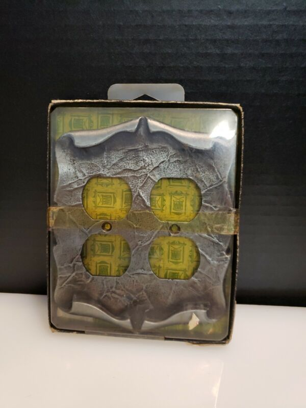Vtg Carriage House Antique Silver double Outlet Switch Plate Cover-AMEROCK NEW