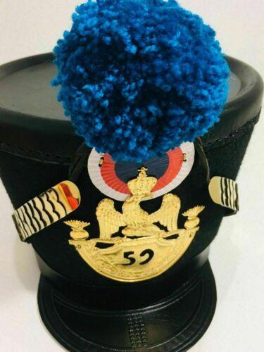 French Napoleonic Black Shako Helmet - Blue, Red & Yellow Pompom Free Shipping