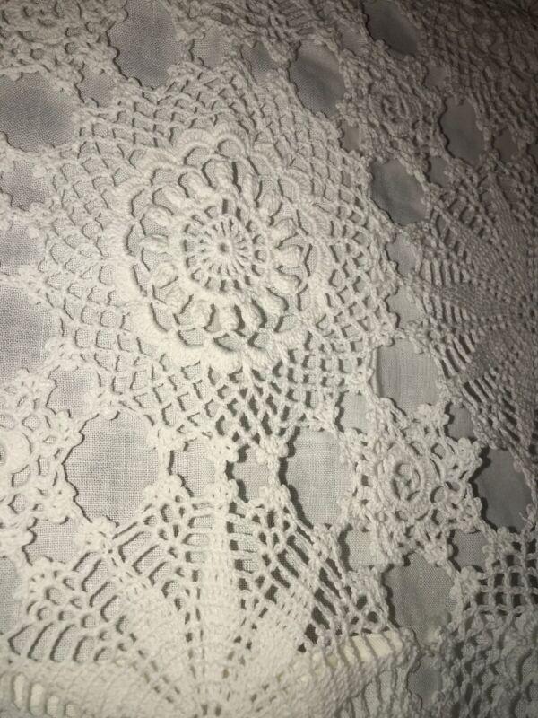 "Antique Handmade Crochet Lace Scalloped Edges Pair Handmade Pillowcases 16""x 26"""