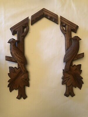 Vintage German Wooden Cuckoo Clock Case Trim Leaves Parts Or Repair